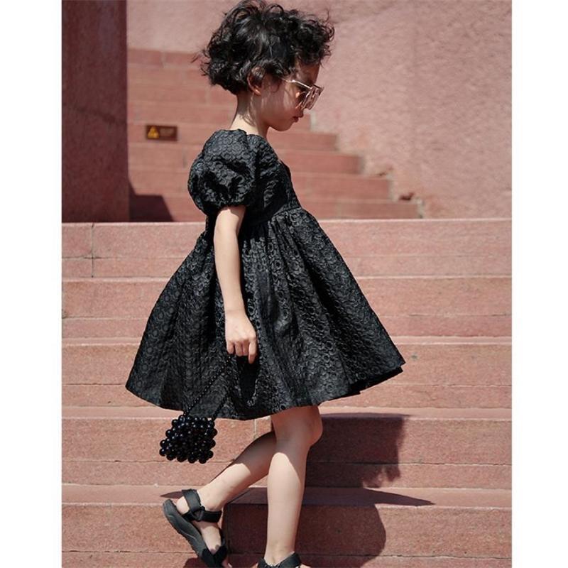 2020 Primavera Verano Nuevo Niños Negros Collar Square Holiday Kids Mini Party Dress Ins WS1460 T200709