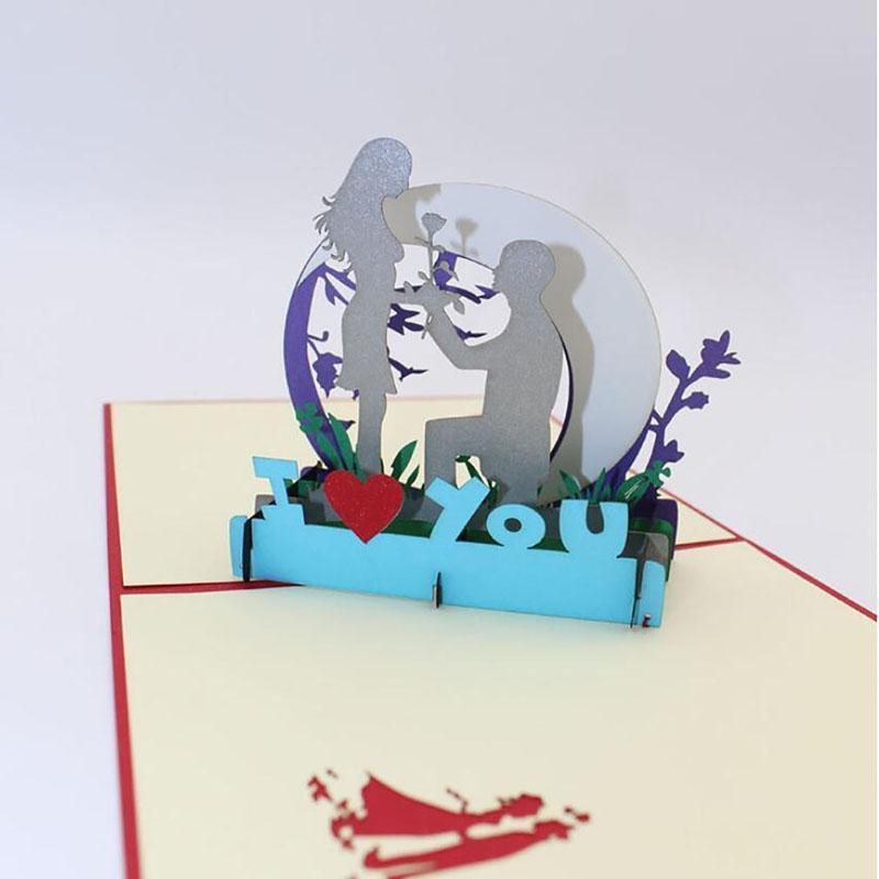 День 3D высокое качество ручной работы Валентина Boy Показать Любовь Человек Предлагать бумаги приглашения Поздравительные открытки с конвертом Креативный подарок