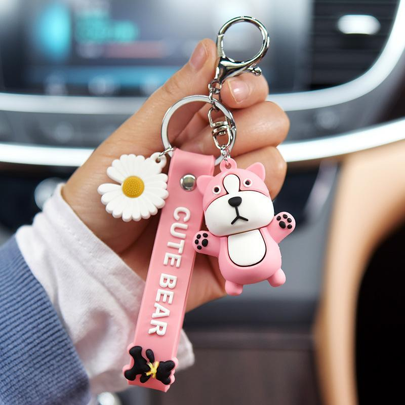 Cartoon Little Daisy Bear Doll keychain cute Bear Keychains for women Creative Bag Pendant Car keyring Accessories Trinkets