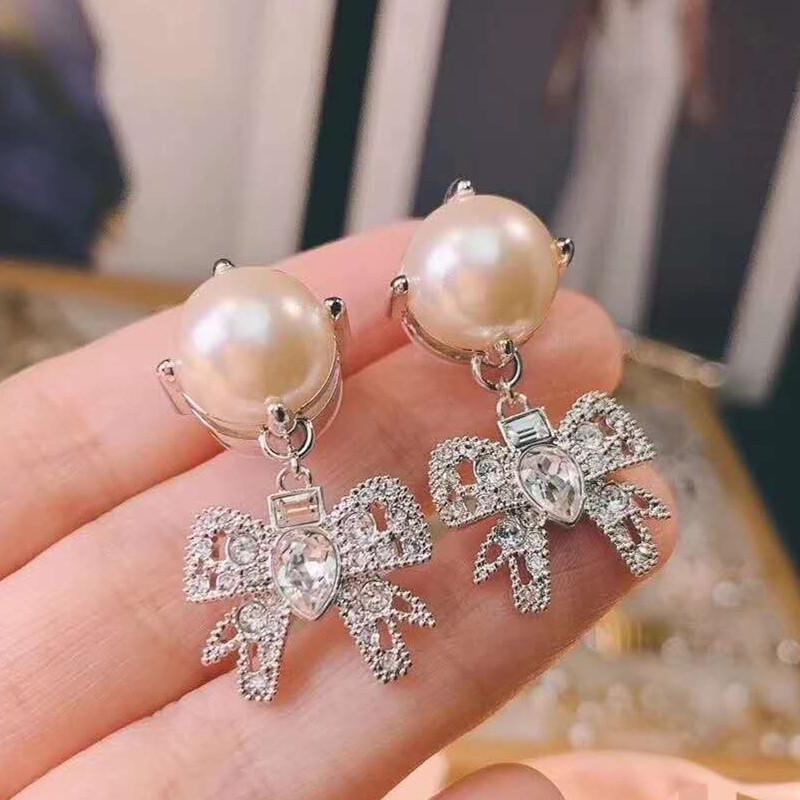 Dolce donne Gioielli in oro bianco popolare di modo placcato CZ dell'arco della perla Orecchini per Ragazze Donne per la festa nuziale Nizza regalo per l'amico