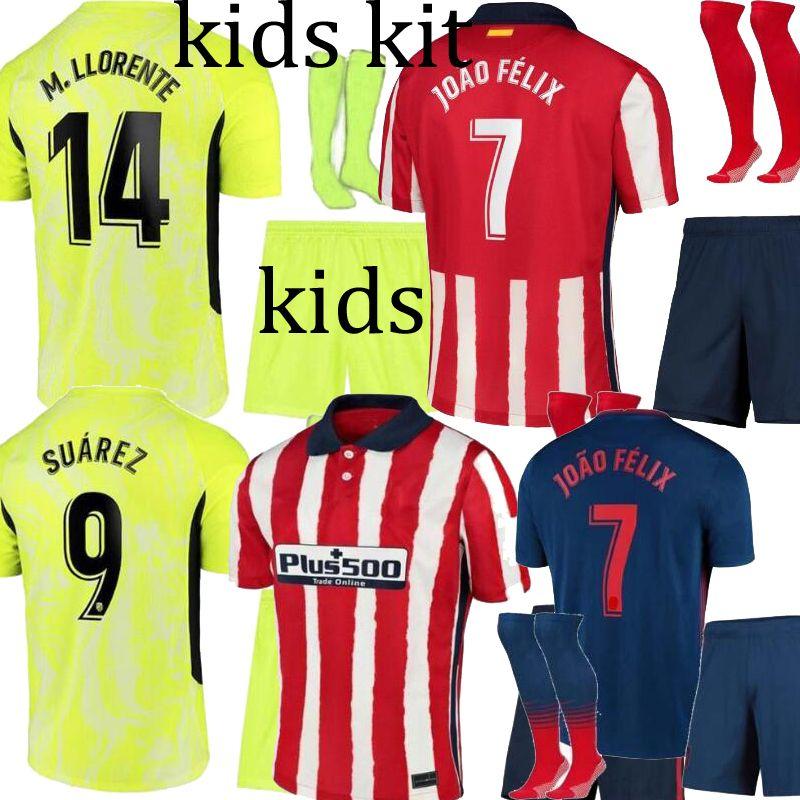 20 21 Atletico SUAREZ AT.Madrid JOAO FELIX дома синий зеленый дети Комплект футбол Джерси DIEGO COSTA JOAO FELIX дети Camisetas де Футбол Рубашка 2021