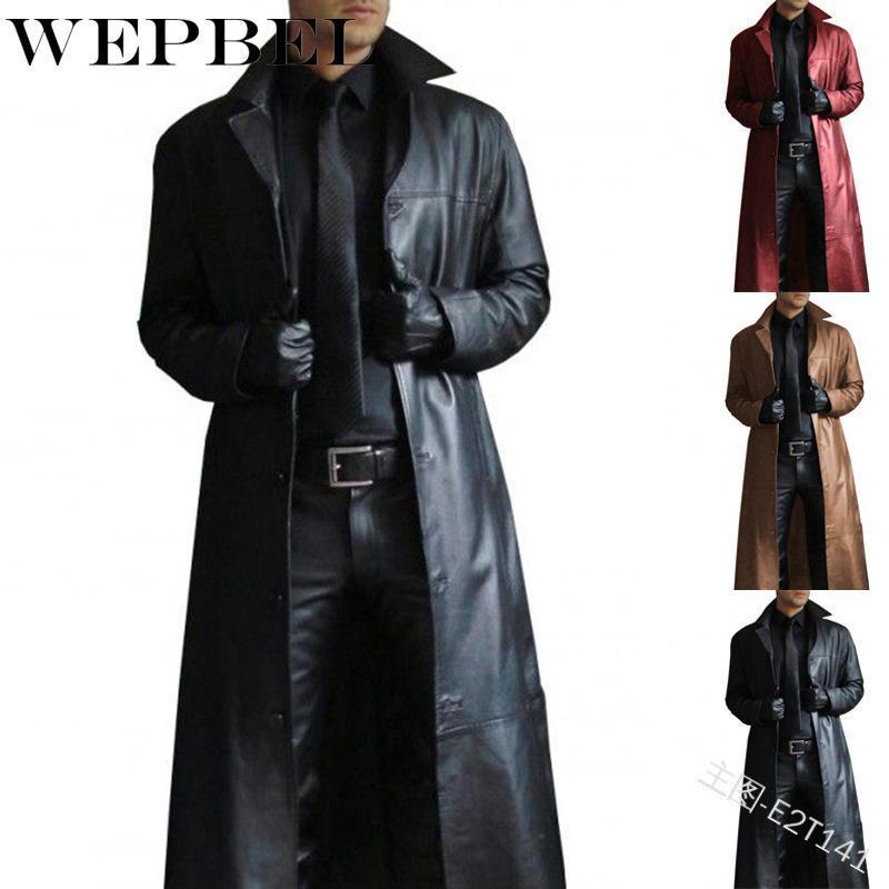Männer Pelz Faux Weppel Mode Männer Mittelalterliche Steampunk Lange Lederjacken Vintage Herbst Winter Oberbekleidung Trenchmantel Strickjacken