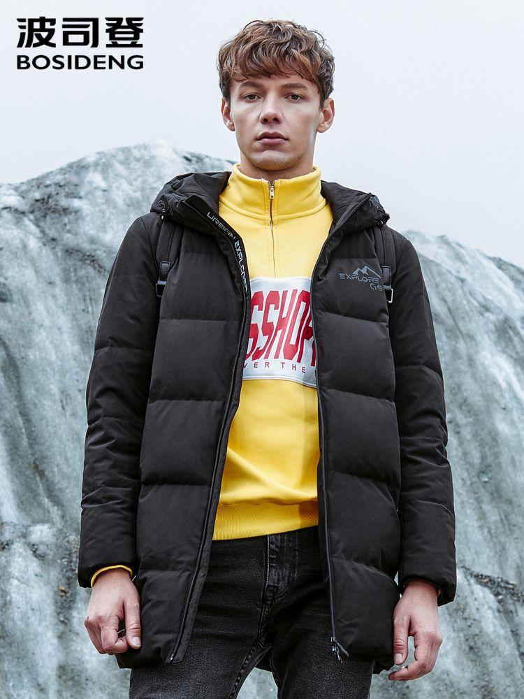 Bosideng Down Jacket Hombre con capucha Invierno Juvenil Largo Casual Cálido Fashion Coat B80142007 201201