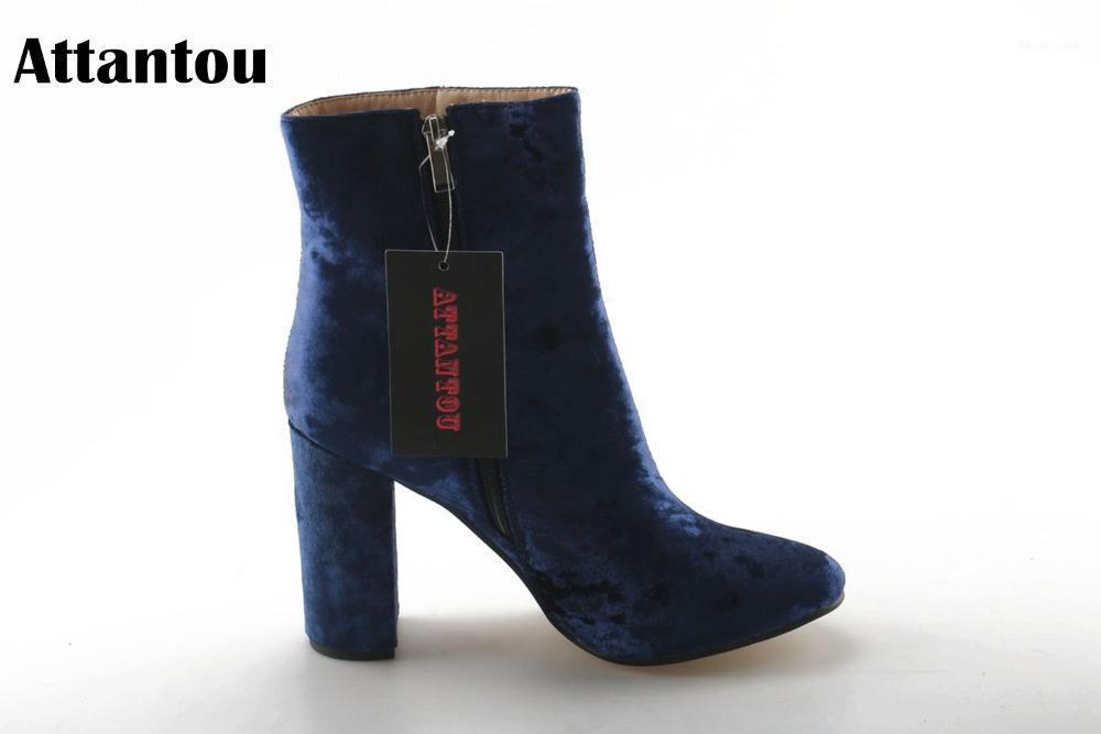 Attantou mode frauen stiefel kloß high heuleed stiefeletten schuhe marke frauen schuhe herbst winter schnee botas femininos1