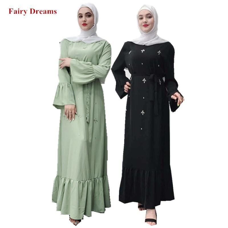الملابس العرقية ضمادة اللباس النسائية الأخضر الأسود مسلم العباءة فام الإسلامية دبي تركيا تركيا بنغلاديش قفطان