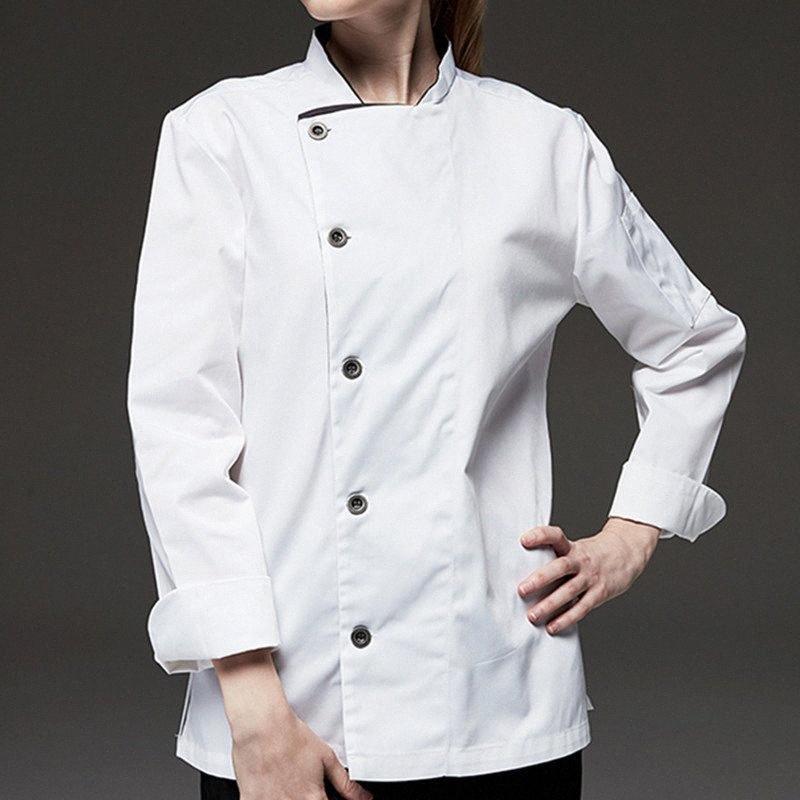 Black White Long Sleeve Shirt Hotel Restaurante Chef Jacket Uniforme Culinary Bistro Bar Cafe Hotelaria Cerimonial Trabalho desgaste B74 qA6n #