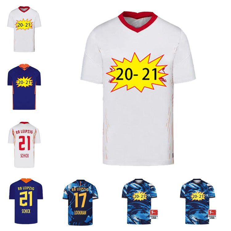 Alta calidad 2020 2021 Leipziges Soccer Jersey Werner Inicio Fora Camisa Camisas Pretas Brancas RB Forsberg Halstenberg Sabitzer Uniformes