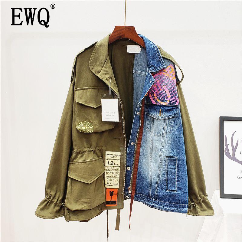 [Ewq] Primavera Autunno Autunno di alta qualità Manica lunga Manica lunga Falso Denim Denim Patchwork Vintage Cappotto Donne Giacca Donne AH65009L 201007