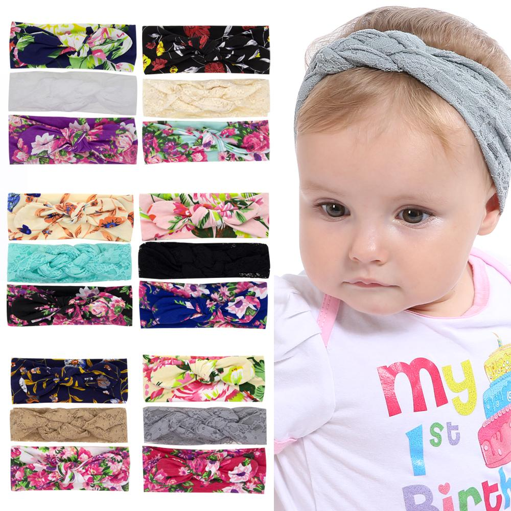 Baby girl Headbands set Turbon Knot Bow Head bands Kids hair accessories Braid Lace Bunny band Cotton Floral Print headwear 3pcs/set WKHA17