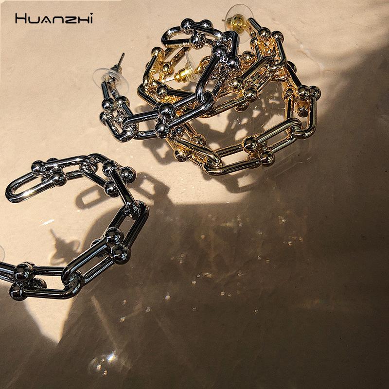 HUANZHI 2020 Новый S925 сращивания Геометрическая Hollow цепи ретро U-образный C Форма серьги обруча металла для женщин девушки партии ювелирных изделий