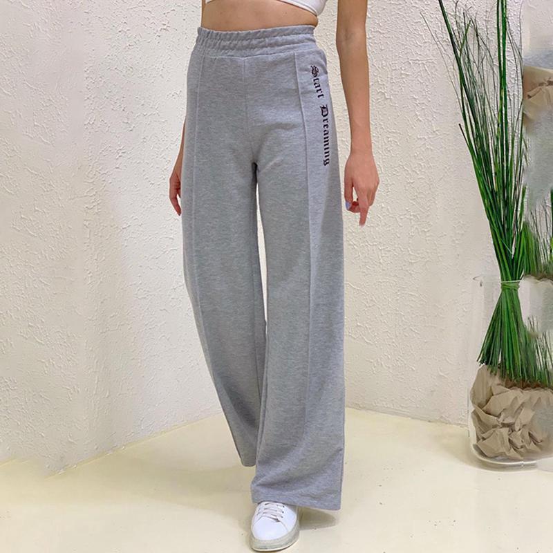 Sweet de la calle de la calle de las mujeres Sweetpants de la pierna recta Lado lateral de la moda de la manera de la manera ancha pantalones casuales gris