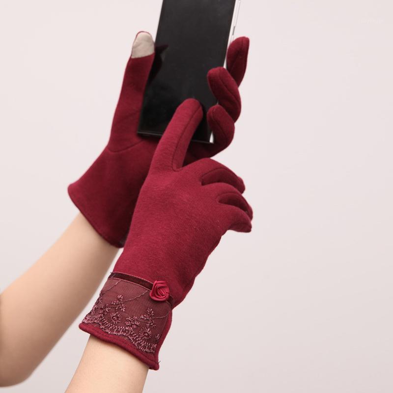 Pantalla táctil de encaje Patchwork Elegante al aire libre a prueba de viento a prueba de viento Mittens invierno otoño abrigo guantes para mujer1