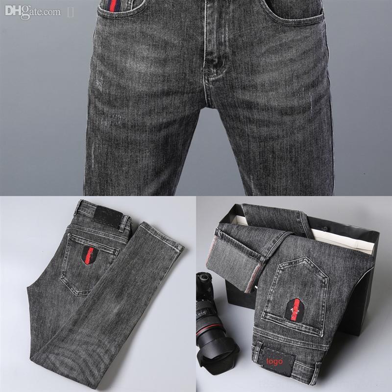 FCJKG Mode Boyfriend Jeans pour homme Slim Slim Pantalon déchiré Pieds Jeans En automne Nouveau Men Hommes Trou Jean Fit Skinny Prestige Designer Street