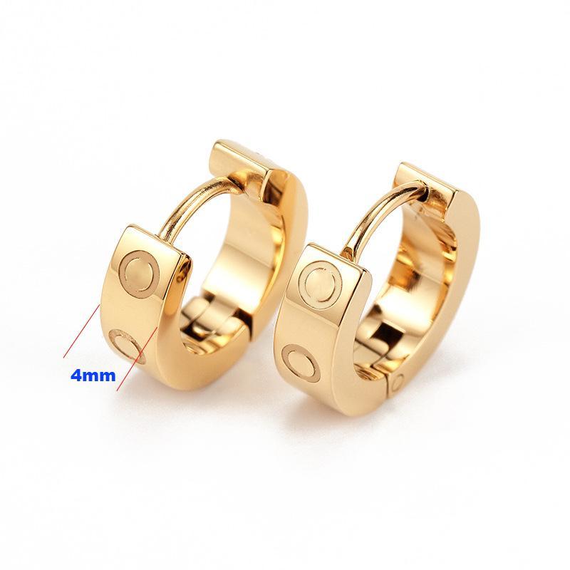 2021 Titanium Acier inoxydable amour Boucles d'oreilles oreillette or argent rose or pour femme bijoux avec poche rouge