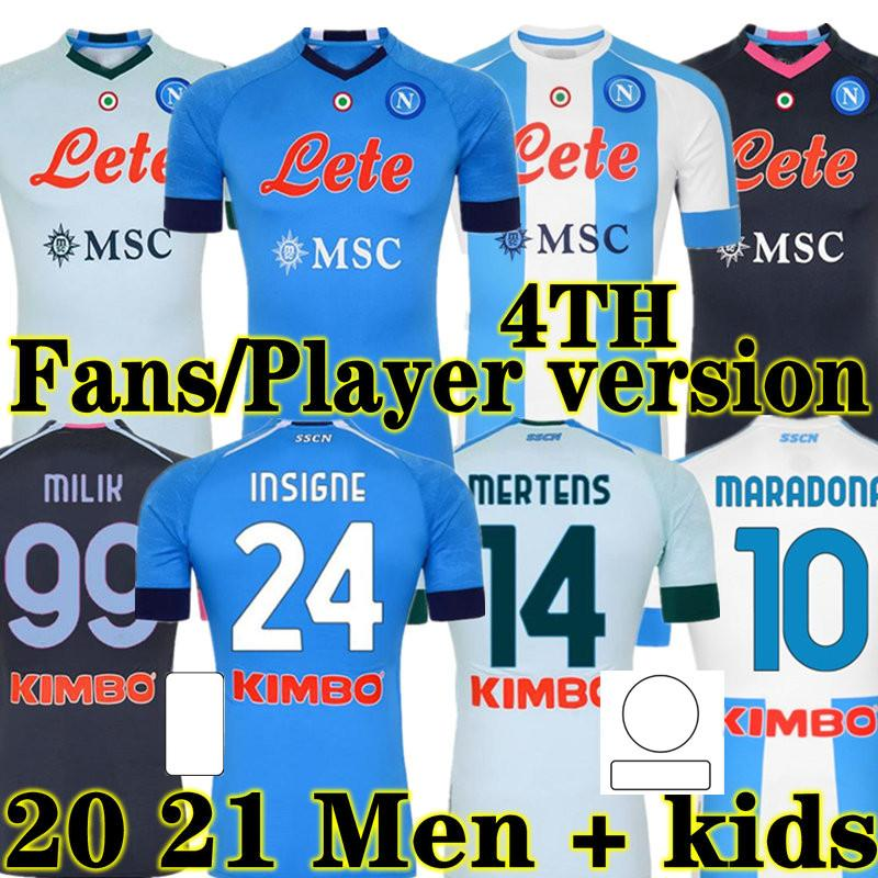20 21 Napoli Futbol Jersey Napoli Futbol Gömlek 2020 2021 Koulibaly Camiseta De Fútbol Insigne Maradona Maillot de Foot Mertens Camisa