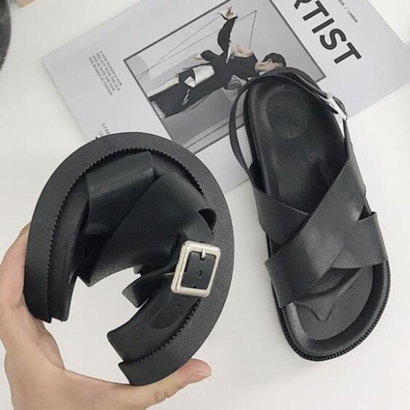 2021 sommer frauen sandalen wild dicke boden hausschuhe kreuz sandalen casual wild college wind rutschfeste strandschuhe weiblich zy767