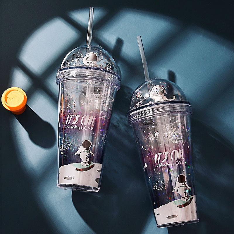 420 ML Cartoon Gobelet mugs à café en plastique Bouteille d'eau Tasse Voyage jus de lait de thé Portable Coupe avec de la paille Drinkware 087