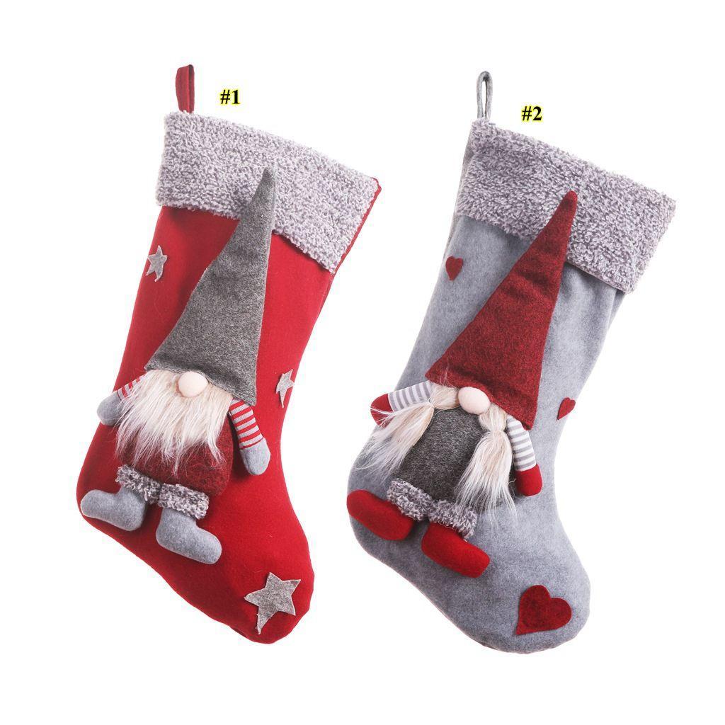 I titolari NUOVO Natale calze con 3D svedese Gnome bambola Xmas Tree ciondolo appeso ornamenti vacanza Camino Decorazioni Regali FWA1010