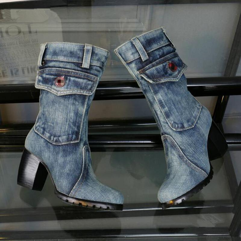 Botas elegantes azul mezclilla de mezclilla zapatos de bolsillo vaquero diseño de bolsillo rodilla tacón cuadrado alto talones tacones de peluche corto Botas Mujer