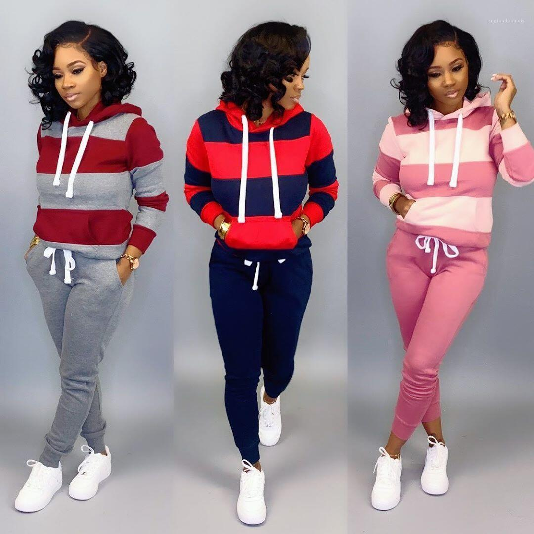 Set Patchwork Sporting Frauen Designer Kapuze Trainingsanzug Langarm Pullover Slim Casual Hosen Weibliche 2 Stück