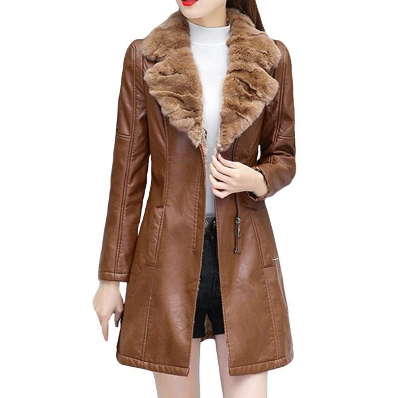 Женские Parkas Chamsgend осень зима теплая шуба женская кожаная куртка дамы тонкий мото байкер базовые куртки плюшевые повседневная верхняя одежда