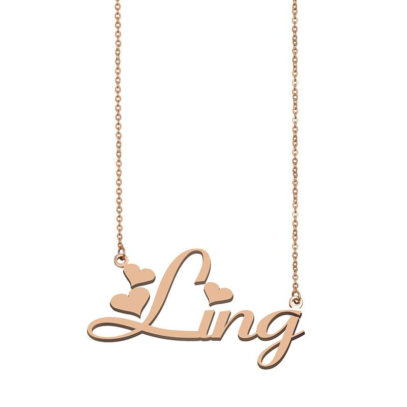 Ling Name Halsketten Anhänger Gewohnheit personalisiert Für Frauen Mädchen Kinder Beste Freunde Mütter Geschenke 18K vergoldetem Edelstahl