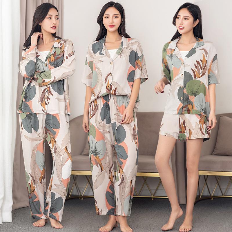Laisseurs Impression Pyjamas Ensemble pour Femmes 2020 Printemps et Été Hauts d'automne avec pantalon Pajamas Set Cardigan Impression Pajamas Y200708
