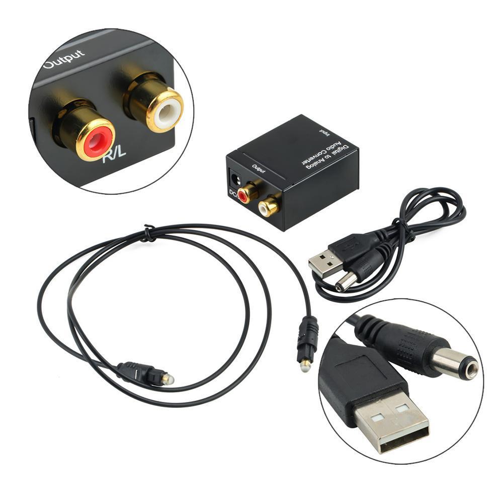 Dijital için Analog Ses Dönüştürücü Adaptör Koaksiyel Toslink Ses 2RCA L / R Ses 3.5mm USB Powered toslink 1XRCA Kararlı Kod Çözme