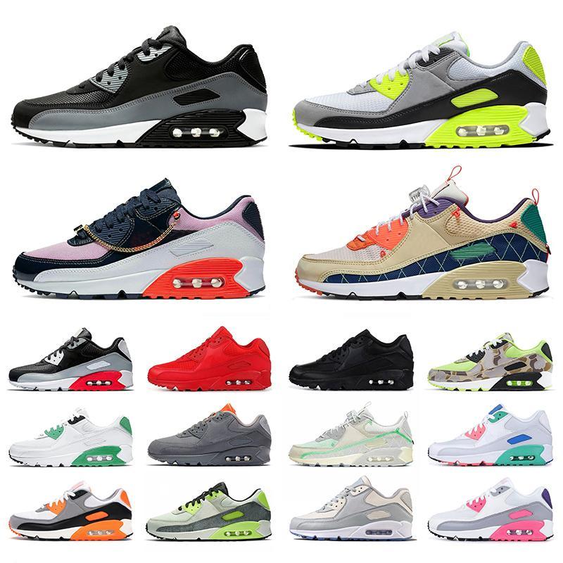 Nike Air Max Airmax 90 zapatos corrientes de aire para mujer para hombre Triple Negro Blanco Glasgow Camo entrenadores deportivos zapatillas de deporte 12