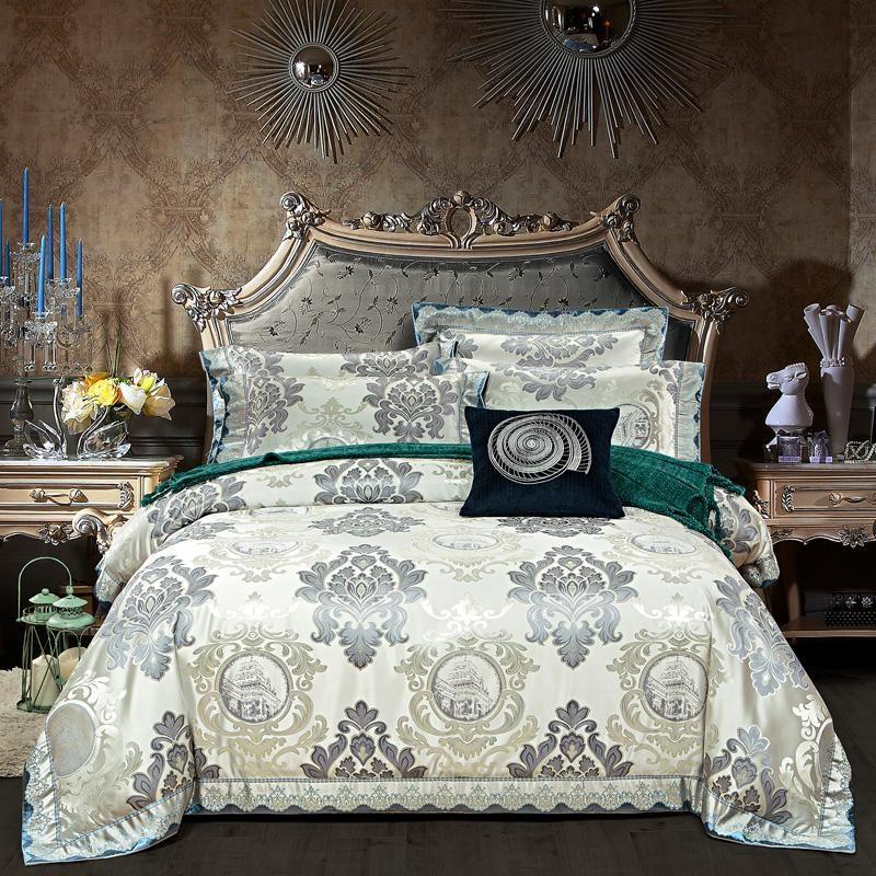 European Noble Home Textile 4pcs Jacquard Bedding Set Luxury Embroidery Silk/Cotton Duvet Cover Bed Sheet Cotton King Queen Size