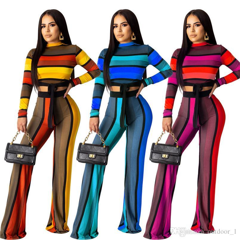 Women Striped Hoodies+Wide-Leg Pants Two Piece Set Sportswear Long Sleeve Shirts Sports Suit Plus Size S-2XL Outfits Fall Clothing