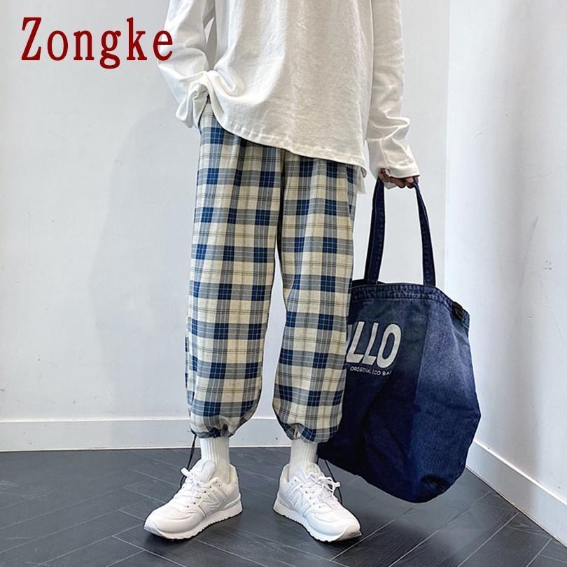 Zongke Erkek Pantolon Streetwear Ekose Pantolon Erkek Giyim Koşucular Erkekler Pantolon Harajuku Jogger Pantolon M-3XL 2020 Sonbahar Yeni Geliş 1114