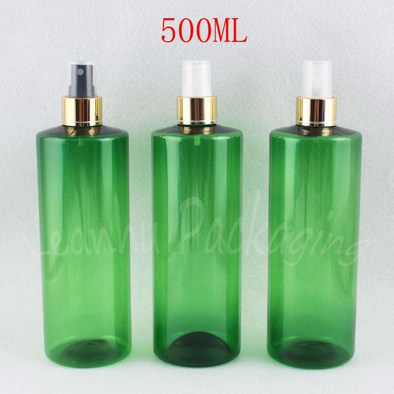 500ML Зеленый Плоский Плечи Пластиковые бутылки с золотом Spray насос, 500cc Пустой Cosmetic Контейнер с тонером / воды Упаковка