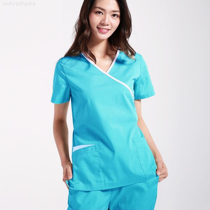 С набор рубашки Mock Work с короткими рукавами Две большие карманы Медицинские спа-салоны Универсальные чистящие скрабы штаны