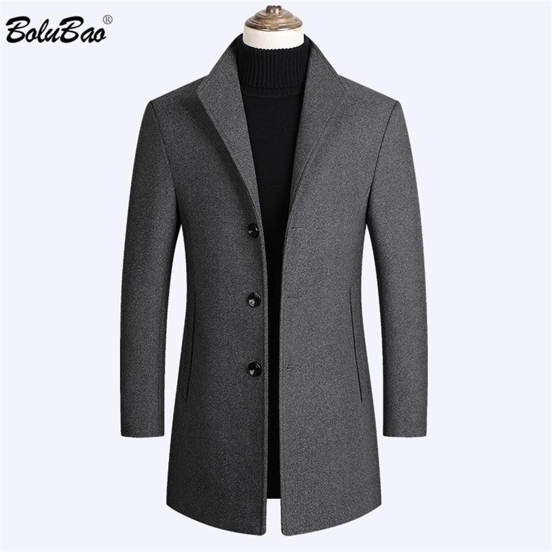 Bolubao Brand Men Wool Blends Manteaux Automne Hiver Nouveau Couleur Solide Couleur Solide Qualité Manteaux de laine pour hommes Luxueux Blancs de laine Mâteau Homme 201127