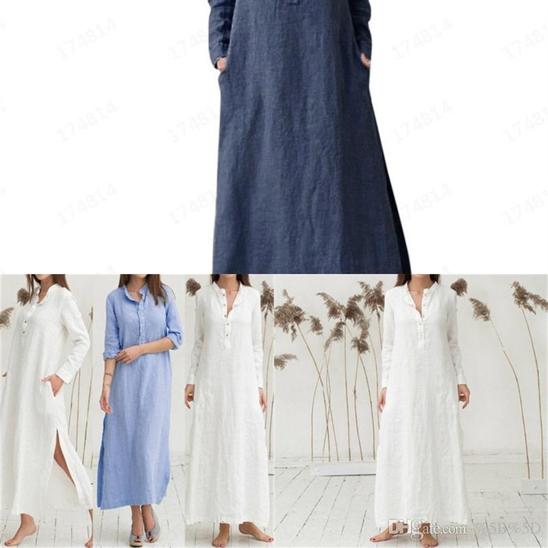 DQYF SUMITONG Kadınların Gündelik Gevşek Elbise Dikey Yaka Ve Kol Düğme Gömlek Elbise Tasarımcısı Uzun Skirtbutton Uzun