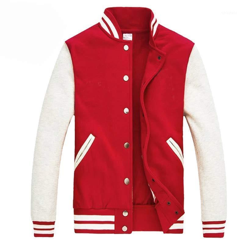 2016 Classic Hommes / Garçon Rouge Varsity Baseball Veste 2016 Fashion Automne Fit Fit Mens Fleece College Jacket Veste Homme Plus Taille1