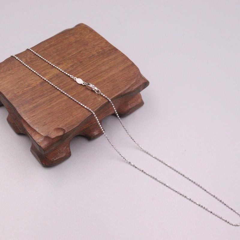 Тонкая чистая платиновая цепь женщин мужчин 1 мм бисером звена ожерелье 18 дюймов 3,5-4 г