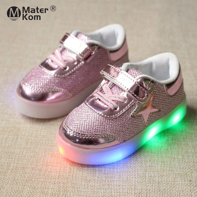 Размер 21-30 Детская обувь со светодиодными фонарями Детские девочки мальчики бегущие светящиеся кроссовки сияющие подошвы обувь для маленького ребенка 201130