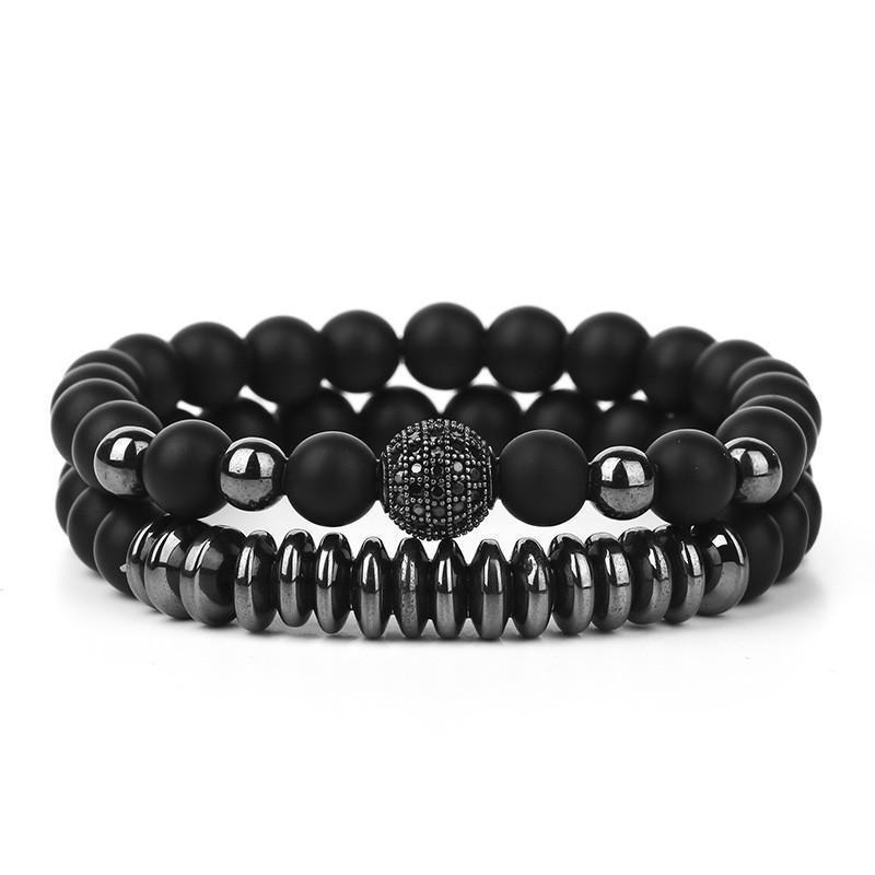 Классический черный браслет из бисера для женщин мужчин 8 мм натуральный камень микроиннадный циркон унисекс браслеты 2 шт.