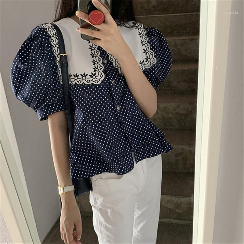 Женщины Блузки Рубашки 2021 Прибытие Dot Print Летняя Рубашка для Дамы Большой Вторженный Воротник Воротник Случайный Рукав Женщина Мода Сладкие Женщины '