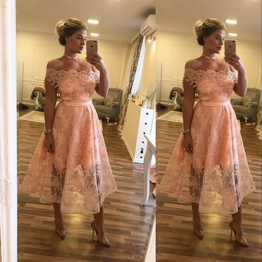 2021 New Blush Pink Bridesmaid Dresses Lace Off Shoulder Plus Size Long Beach Tea Length Cheap Maid Of Honor Formal Wedding Guest Dresse