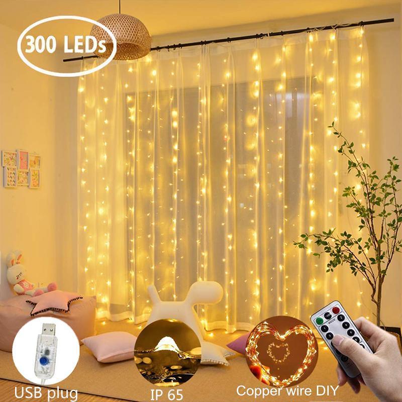 Lampada da tenda a LED Ghirlanda 3x1m / 3x2m / 3x3m Telecomando a filo di rame Light Telecomando Plug USB per la camera da letto Garland Decorazioni