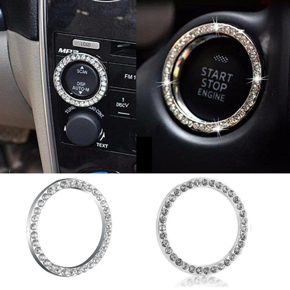 2020 Araba SUV Bling Dekoratif Aksesuarları 40mm Çap Düğme Başlangıç Anahtarı Gümüş Elmas Yüzük Sıcak Ücretsiz Kargo Yeni Gelmesi