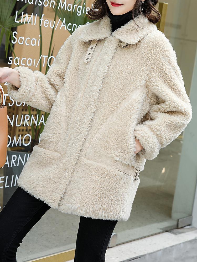 Женский меховой Искусственный 100% Подлинная Куртка WOOL Твердое пальто Женщины Осень 2021 Мода Тонкий Женский Овцы Сдвиг Casaco ZJT572