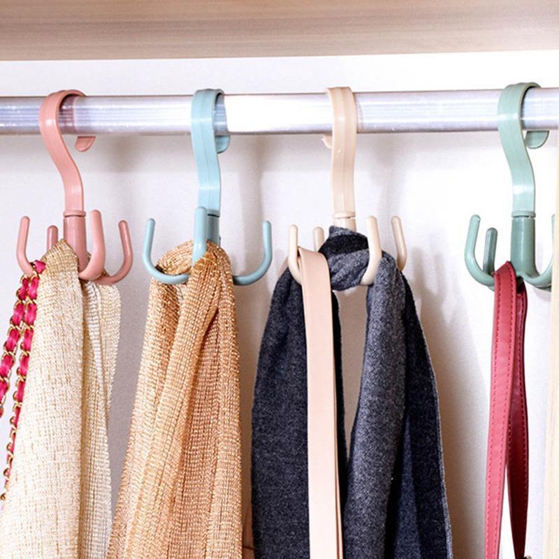 Крючки Rails 360 градусов Rotation 4 Пластиковая сумка Одежда для одежды Сумка Держатель Полка Организатор многофункциональный вешалка для хранения стойки