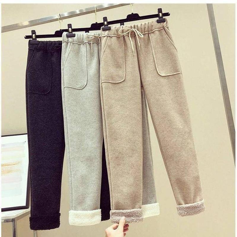 Женские брюки Cakris шерстяные повседневные женщины 2021 осень зима свободные высокие талии брюки женские корейские подорожники гарем плюс размер теплые спортивные штаны
