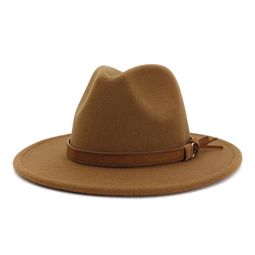 리본 울 / 벨트 브라운 카키 패치 워크 재즈 페도라 W 남성 여성 모자는 챙이 넓은 파나마 스타일 모자를위한 축제 여성의 페도라 펠트