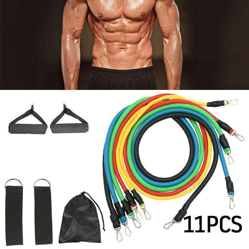 Resistance Bands 11PCS Band Set Yoga Pilates Latex Exercise Fitness Tube Workout Rubber Stretch Training Home Gyms