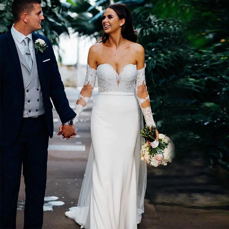Vestido de casamento branco da sereia Satin manga comprida Praia Lace apliques vestido de noiva simples Off-ombro botões forrados vestidos de casamento